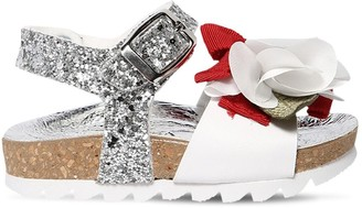 MonnaLisa Glittered Faux Leather Sandals W/ Bow
