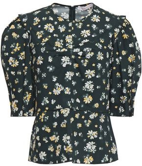 See by Chloe Ruched Floral-print Cotton-poplin Top