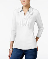 Karen Scott Pleated-Bib Polo Top, Only at Macy's
