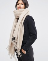 Asos Oversized Long Woven Scarf In Pinstripe