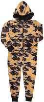 ONEZEE Boys Hooded Army Camouflage MicroFleece Onesie Pajama (Ages 7-13)