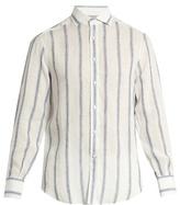Brunello Cucinelli Single-cuff striped linen and silk-blend shirt