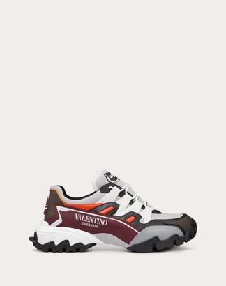 Valentino Garavani Uomo Climbers Sneaker In Fabric And Leather Man Pastel Gray 100% Pelle Di Vitello - Bos Taurus 39