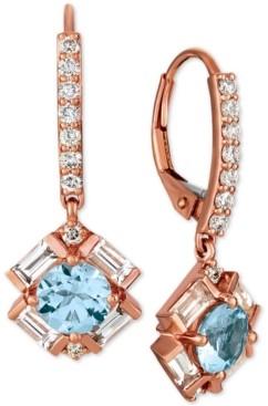 LeVian Le Vian Baguette Frenzy Multi-Gemstone (1-9/10 ct. t.w.) & Diamond (1/3 ct. t.w.) Drop Earrings in 14k Rose Gold