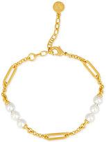 Majorica Gold-Tone Imitation Pearl Station Bracelet