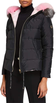 Gorski Reversible Quilted Puffer Parka W/ Detachable Fox Fur Hood Trim