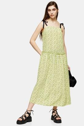 Topshop Lime Green Floral Drop Waist Midi Dress