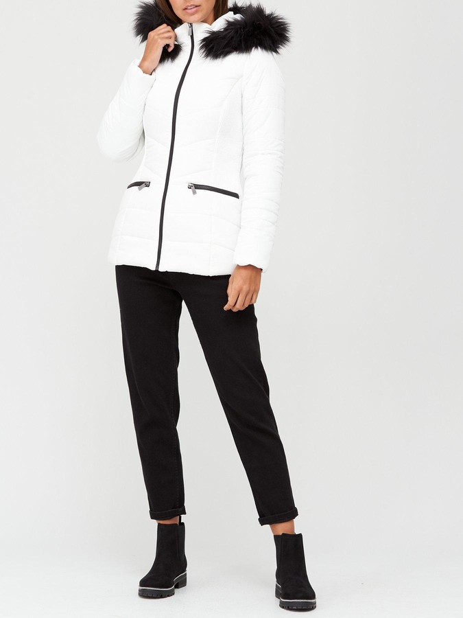 Thumbnail for your product : Very ValueShort Faux Fur Trim Padded Jacket - White