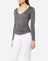 N.Peal Printed Super Fine V Neck Cashmere Sweater
