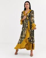 Forever U satin maxi dress in black chain print and polkadot