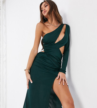 Ei8th Hour exclusive slashed one shoulder midi dress with thigh split in emerald green
