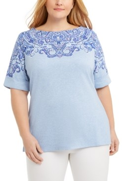 Karen Scott Plus Size Printed Boatneck T-Shirt, Created for Macy's