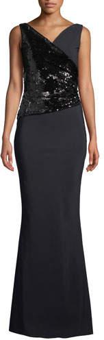 Chiara Boni Hilaria Sleeveless Sequin Wrap Gown