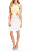 Calvin Klein Floral Twin Print Scuba Crepe Sheath Dress