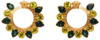 Versace Green Crystal Jungle Medusa Earrings