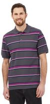 Maine New England Dark Grey Striped Print Polo Shirt