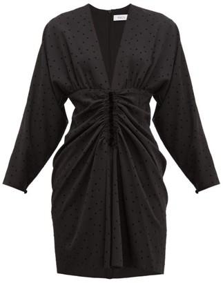 Racil Carolina Ruched Polka-dot Mini Dress - Womens - Black