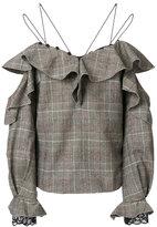 Self-Portrait off-the-shoulder tweed blouse