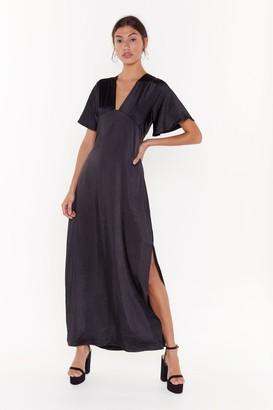 Nasty Gal Womens Tonight You Belong to V Satin Maxi Dress - black - 14