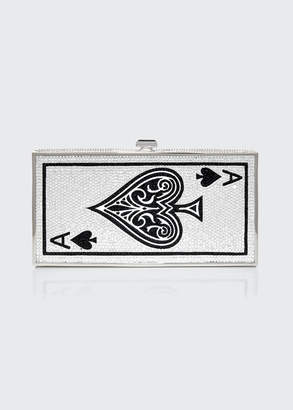Judith Leiber Couture Beaded Ace Of Spades Rectangle Clutch Bag