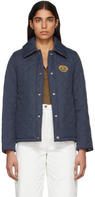 Burberry Navy Short Crest Frinton Jacket