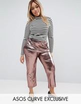 Asos Crop Pant In Metallic Plisse