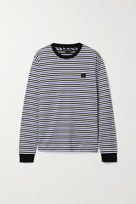 Acne Studios Elwood Face Appliqued Striped Cotton-jersey Top - Blue
