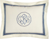 Legacy King Ascot Geo Sham with Blue Trim & Monogram