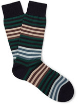 Pantherella Sudbury Striped Merino Wool-blend Socks - Navy