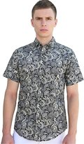 uxcell Allegra K Men Collared Short Sleeves Floral Slim Fit Shirt XL