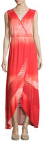 Neiman Marcus Sleeveless Faux-Wrap Maxi Dress, Red Coral
