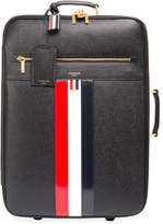 Thom Browne Leather Trolley Suitcase with Tricolor Stripes, Black