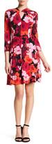 London Times Floral Twist Neck Fit & Flare Print Dress (Petite)