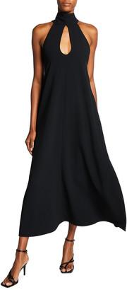 Victoria Beckham Halter-Neck Keyhole Midi Dress