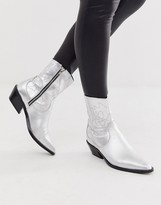 Asos DESIGN Autumnal leather cowboy boots in silver