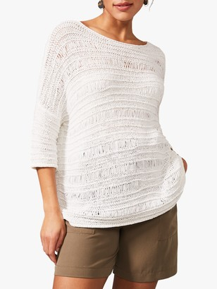 Phase Eight Issy Stitch Detail Tape Jumper, White