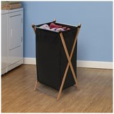 Household Essentials X-Frame Laundry Hamper, Bamboo w/ Black Canvas Bag-Black