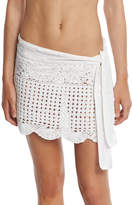 Letarte Crocheted Coverup Miniskirt, White