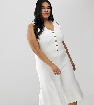 Micha Lounge Curve button through cropped jumpsuit-White