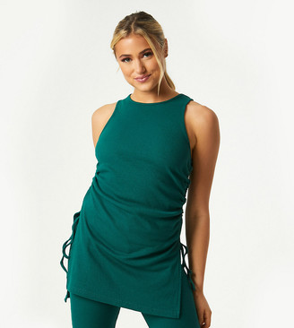 Outrageous Fortune Exclusive ruched side detail longline top in emerald green