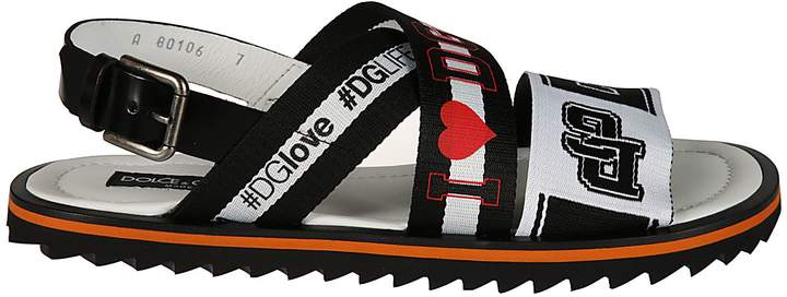 Dolce & Gabbana Multi-logo Striped Sandals