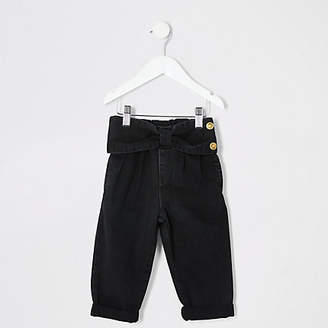 River Island Mini girls black bow waist Mom jeans