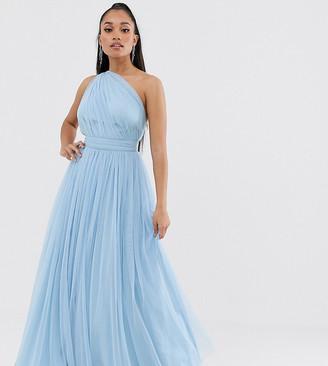 Asos DESIGN Petite one shoulder tulle maxi dress