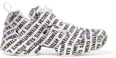 Vetements + Reebok Instapump Fury Logo-print Leather And Mesh Sneakers