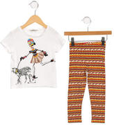 Junior Gaultier Girls' Embellished Two-Piece Pant Set
