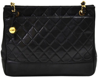 Chanel Black Quilted Lambskin Leather Medium Chain Shoulder Bag