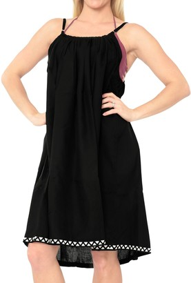 LA LEELA Everyday Essentials Women's Solid Short Beach Dress Vintage Casual Midi Evening Loungewear Short Sleeve Daily wear Caftan Cover up Tunic One Size Large Cruise Halloween Black_I789