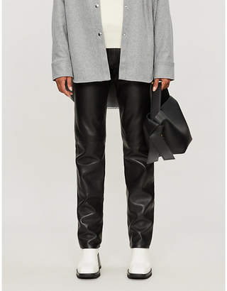Acne Studios High-rise straight-cut leather trousers
