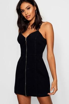 boohoo Zip Front Strappy Denim Dress