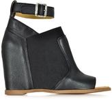 MM6 Maison Martin Margiela Black Leather Wedge Sandal w/Ankle Wrap